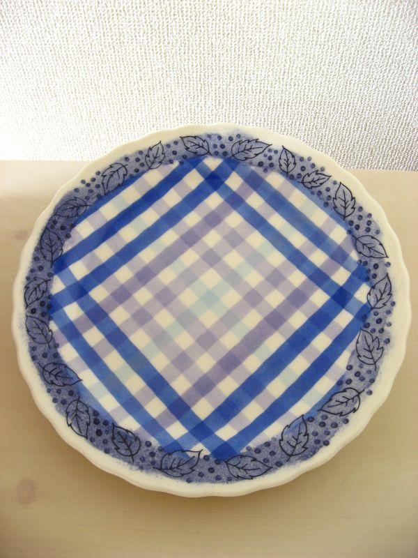画像1: ギンガムチェックと葉っぱのプレート(ブルー)
